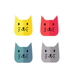 simple and modern funny cat face color style vector image