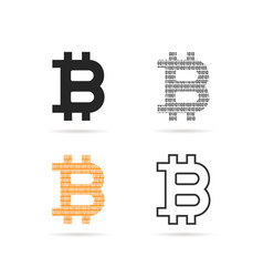 simple set of bitcoin logo with shadow vector image