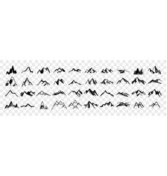 sketch hand drawn mountain peaks set collection vector image