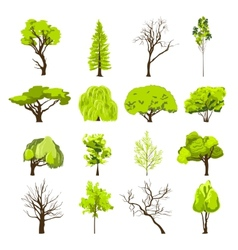 Sketch tree icons set vector image