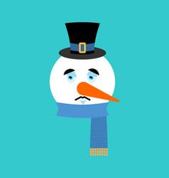 snowman sad emotion avatar snowman sorrowful vector image