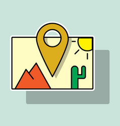 Sticker travel pin location on a global map flat vector