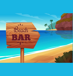 summer background with wooden signboard on the vector image