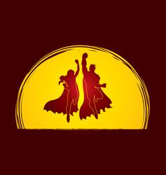 Superhero man and woman jumping vector