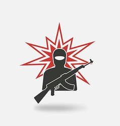 terrorist with gun vector image