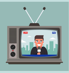The old tv shows a live report vector