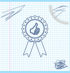 thumbs up on medal badge with ribbons line sketch vector image