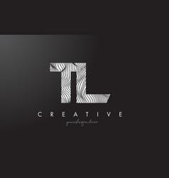 Tl t l letter logo with zebra lines texture vector