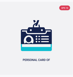 Two color personal card contact data icon from vector