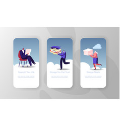 Virtual cloud storage service mobile app page vector
