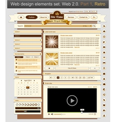 Web design set retro 1 vector