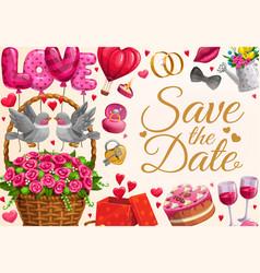 Wedding invitation save date love hearts vector