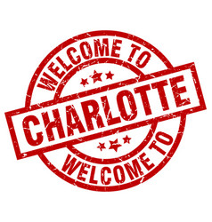 Welcome to charlotte red stamp vector