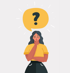 woman with question mark in think bubble vector image