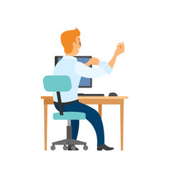 worker on chair computer and table back view vector image