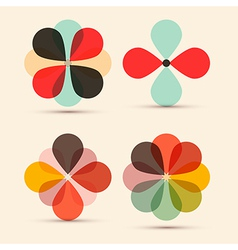 Abstract Retro Flowers Set vector image