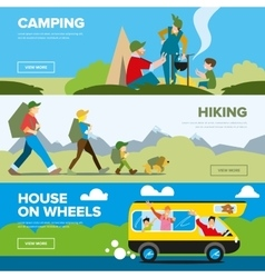 Banners of hiking and family andventure vector image