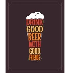 beer glass concept slogan background vector image vector image
