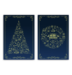 christmas nd new year greeting card vector image