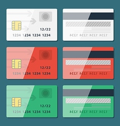 Credit Card two sides in flat style vector image