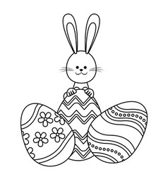 easter rabbit with eggs decoration adorable line vector image