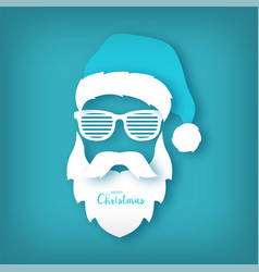 paper santa claus with glasses shutter shades vector image vector image