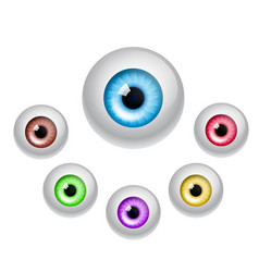 set of colorful eyes isolated on white vector image