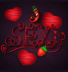 sex shop hot pepper and strawberry vector image vector image