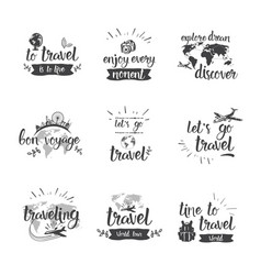 travel quotes icon set hand drawn lettering vector image