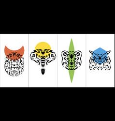 tribal anima vertical poster tribal animal vector image