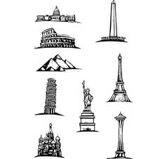 World monument spots vector