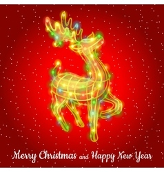 Christmas deer from garland sparkling silhouette vector image vector image