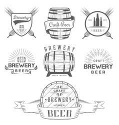 Vintage Craft Beer Brewery Logo and Badge vector image