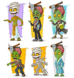 cartoon zombie mummy monster character set vector image