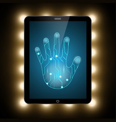 technology security circuit hand palm tablet vector image vector image