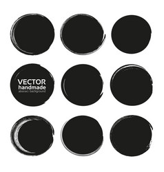 black circles set from black textured paint smears vector image