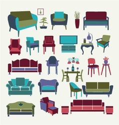 Collection of icons set Interior design elements vector image