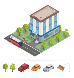 Isometric Hotel Hotel Building Travel Industry vector image