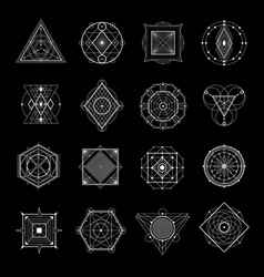 Sacred geometry on black set vector
