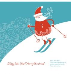 Santa alpine skis vector