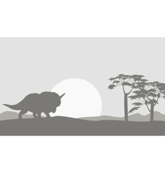 Silhouette of one triceratops scenery vector image