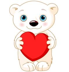 Valentine day polar bear vector image vector image