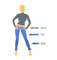 Women Jeans Parts Set vector image vector image