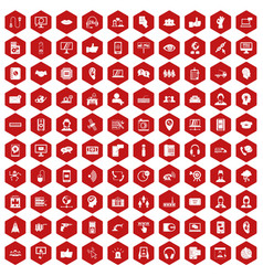 100 call center icons hexagon red vector
