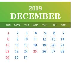2019 calendar template - december vector image