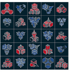 3d engineering abstract shapes collection vector image