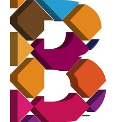 3d font letter b vector