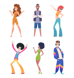 80s people old style persons in casual colored vector image