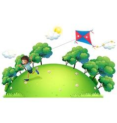 A boy flying a kite vector