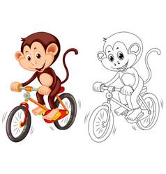 Animal outline for monkey on bike vector
